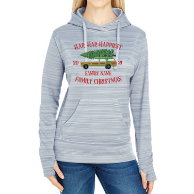 Hap, Hap, Happiest Family Christmas - JAmerica Ladies Poly Fleece Striped Pullover Hoodie Thumbnail