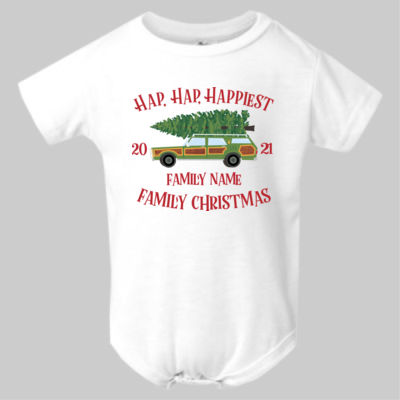 Hap, Hap, Happiest Family Christmas - Infant Polyester Bodysuit Onsie Thumbnail