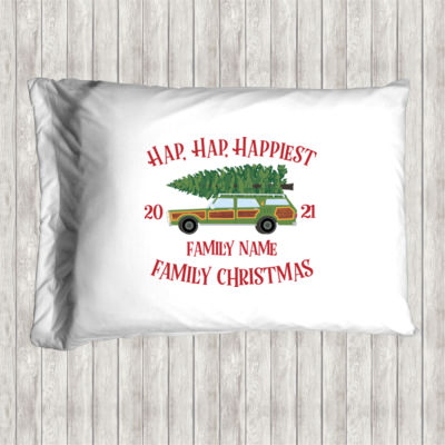 Hap, Hap, Happiest Family Christmas - Pillow Case Thumbnail