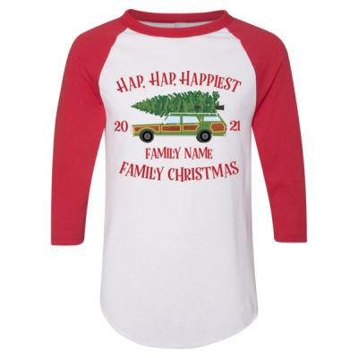 Hap, Hap, Happiest Family Christmas - Adult 3/4-Sleeve Baseball Jersey (S) Thumbnail