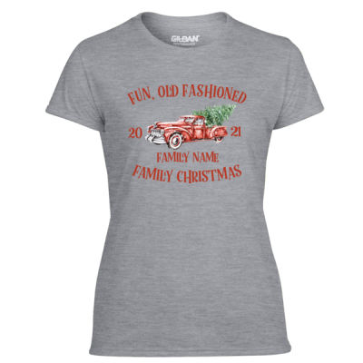 Old Truck - Old Fashioned Family Christmas - Light Ladies Ultra Performance Active Lifestyle T Shirt Thumbnail