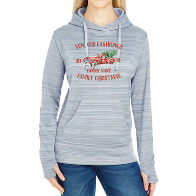 Old Truck - Old Fashioned Family Christmas - JAmerica Ladies Poly Fleece Striped Pullover Hoodie Thumbnail