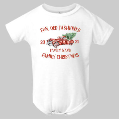 Old Truck - Old Fashioned Family Christmas - Infant Polyester Bodysuit Onsie Thumbnail