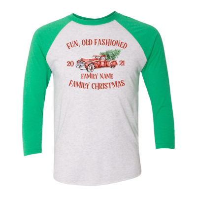 Old Truck - Old Fashioned Family Christmas - (S) Unisex Tri-Blend Three-Quarter Sleeve Baseball Raglan Tee Thumbnail