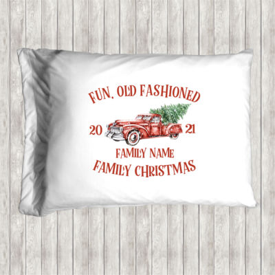 Old Truck - Old Fashioned Family Christmas - Pillow Case Thumbnail