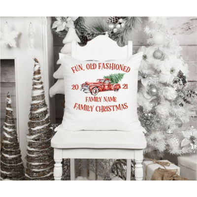 Old Truck - Old Fashioned Family Christmas - Fun, Old-Fashion Family Christmas Throw Pillow (14