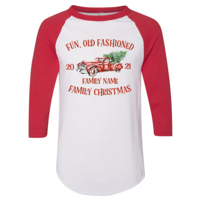Old Truck - Old Fashioned Family Christmas - Adult 3/4-Sleeve Baseball Jersey (S) Thumbnail