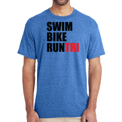 Swim Bike Run Tri Triathlon - (S) Adult 5.5 oz Cotton Poly (35/65) T-Shirt Thumbnail