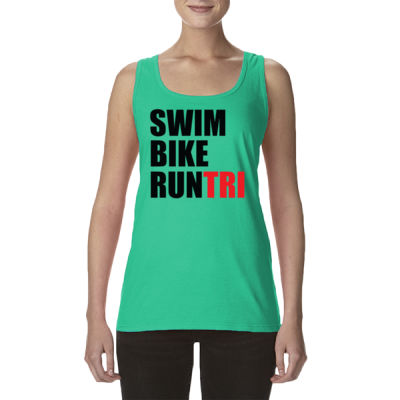 Swim Bike Run Tri Triathlon - Ladies' Softstyle®  4.5 oz. Racerback Tank (S) Thumbnail