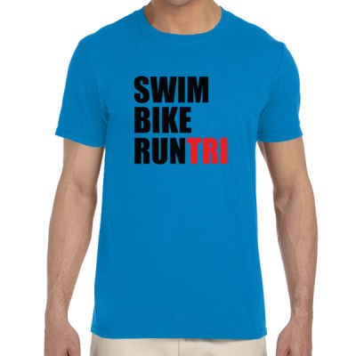 Swim Bike Run Tri Triathlon - Adult Softstyle® 4.5 oz. Heather Color T-Shirt (S) Thumbnail