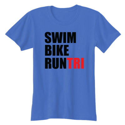 Swim Bike Run Tri Triathlon - Ladies' Softstyle® 4.5 oz. Fitted Heather Color T-Shirt Thumbnail