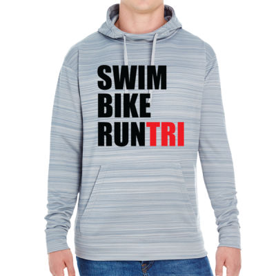 Swim Bike Run Tri Triathlon - JAmerica Unisex Poly Fleece Striped Pullover Hoodie Thumbnail