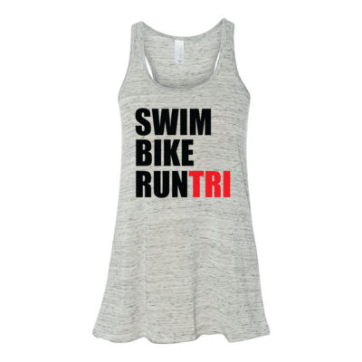 Swim Bike Run Tri Triathlon - Bella Ladies' Flowy Racerback Tank (S) Thumbnail