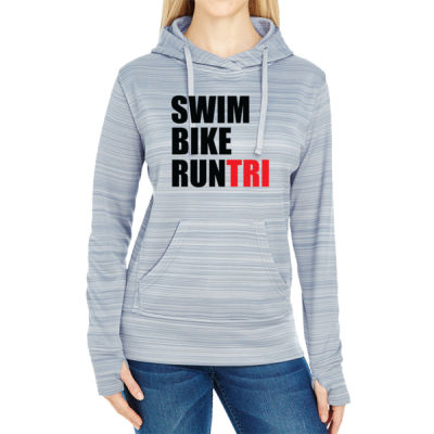 Swim Bike Run Tri Triathlon - JAmerica Ladies Poly Fleece Striped Pullover Hoodie Thumbnail