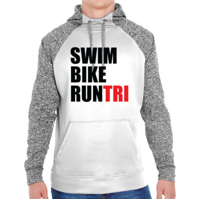 Swim Bike Run Tri Triathlon - Adult Colorblock Cosmic Pullover Hood (S)  Thumbnail