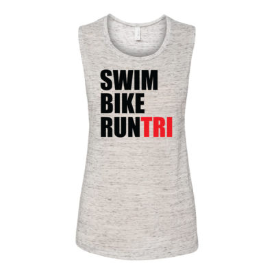 Swim Bike Run Tri Triathlon - Bella Flowy Scoop Muscle Tank (S) Thumbnail