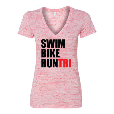 Swim Bike Run Tri Triathlon - Women's Jersey Short Sleeve Deep V-Neck Tee Thumbnail
