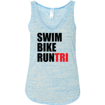 Swim Bike Run Tri Triathlon - Ladies' Flowy V-Neck Tank Thumbnail