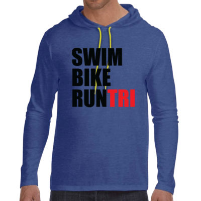 Swim Bike Run Tri Triathlon - Adult Lightweight Long-Sleeve Hooded T-Shirt Thumbnail