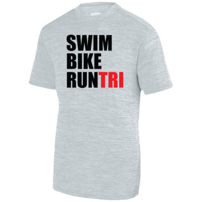 Swim Bike Run Tri Triathlon - Adult Shadow Tonal Heather Short-Sleeve Training T-Shirt Thumbnail