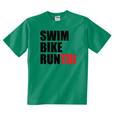 Swim Bike Run Tri Triathlon - Adult 5 oz. HD Cotton™ T-Shirt (S) Thumbnail