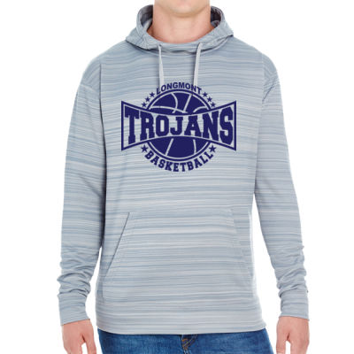 LHS Basketball - JAmerica Unisex Poly Fleece Striped Pullover Hoodie Thumbnail