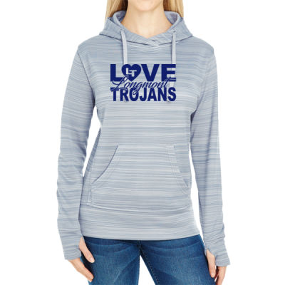 Love LHS - JAmerica Ladies Poly Fleece Striped Pullover Hoodie Thumbnail