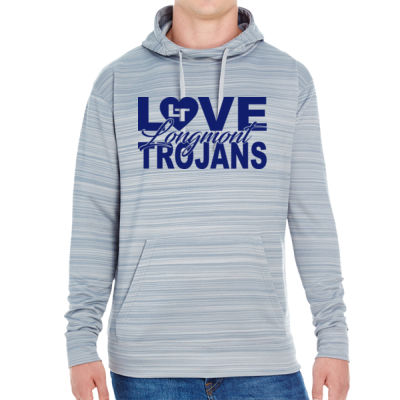 Love LHS - JAmerica Unisex Poly Fleece Striped Pullover Hoodie Thumbnail