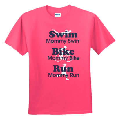 Triathlon Mommy Swim Bike Run with Icons - Youth Ultra Cotton™ 100% Cotton T Shirt 2 Thumbnail