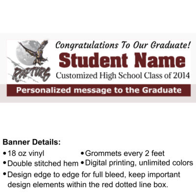 Custom School Graduation Banner with School Logo - 2' x 6' 18oz Vinyl Banner 3 2 2 Thumbnail