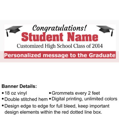 Customized Graduation Banner with Grad Cap - 2' x 6' 18oz Vinyl Banner 2 3 2 Thumbnail