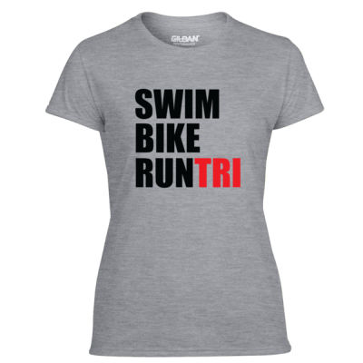 Swim Bike Run Tri Triathlon - Light Ladies Ultra Performance 100% Performance T Shirt Thumbnail