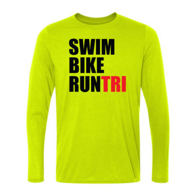 Swim Bike Run Tri Triathlon - Light Long Sleeve Ultra Performance 100% Performance T Shirt Thumbnail