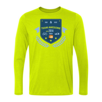 Team Awesome - Light Long Sleeve Ultra Performance 100% Performance T Shirt Thumbnail