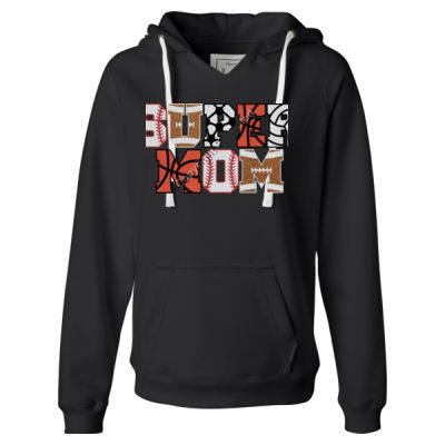 Super Mom - Ladies' Sueded V-Neck Hooded Sweatshirt Thumbnail