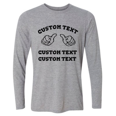 Custom Thumbs  - Light Youth Long Sleeve Ultra Performance 100% Performance T Shirt Thumbnail