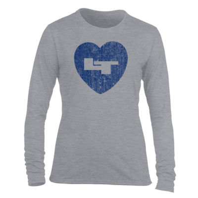 LT Longmont Trojans Heart - Light Ladies Long Sleeve Ultra Performance Active Lifestyle T Shirt Thumbnail