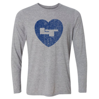 LT Longmont Trojans Heart - Light Long Sleeve Ultra Performance Active Lifestyle T Shirt Thumbnail