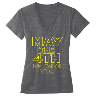 May the 4th Be With You - Ladies' Triblend Deep V-Neck T-Shirt Thumbnail