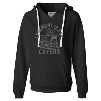 Longmont Is For Beer Lovers - Ladies' Sueded V-Neck Hooded Sweatshirt Thumbnail