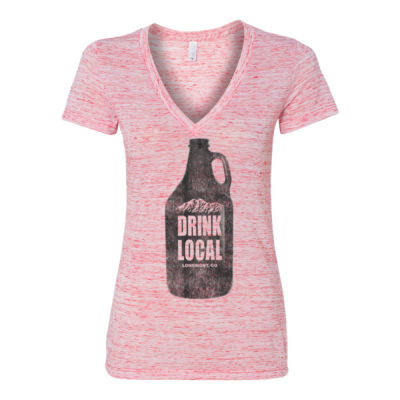 Drink Local Longmont Colorado - Women's Jersey Short Sleeve Deep V-Neck Tee Thumbnail