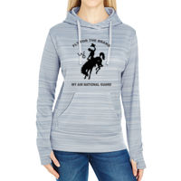 WY Air National Guard  - JAmerica Ladies Poly Fleece Striped Pullover Hoodie Thumbnail