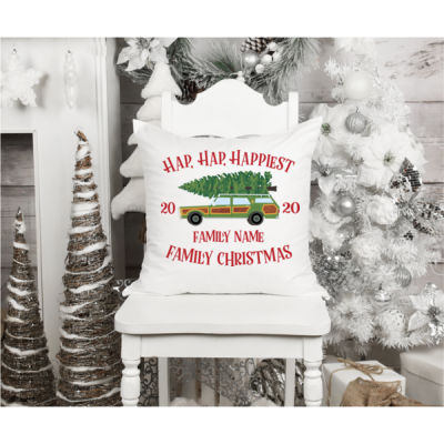 Hap, Hap, Happiest Family Christmas - Fun, Old-Fashion Family Christmas Throw Pillow (14