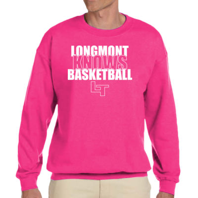 Longmont Knows Basketball White - Adult Heavy Blend™ Adult 8 oz., 50/50 Fleece Crew Thumbnail
