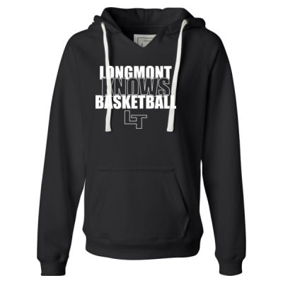Longmont Knows Basketball White - Ladies' Sueded V-Neck Hooded Sweatshirt Thumbnail