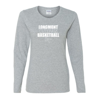 Longmont Knows Basketball White - Gildan Ladies Ultra Cotton™ Long Sleeve Missy Fit T Shirt Thumbnail