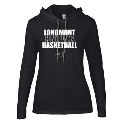 Longmont Knows Basketball White - Ladies' Lightweight Long-Sleeve Hooded T-Shirt Thumbnail