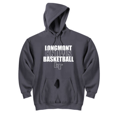 Longmont Knows Basketball White - DryBlend™ Pullover Unisex Hooded Sweatshirt Thumbnail