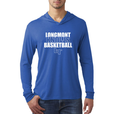 Longmont Knows Basketball White - Adult Triblend Long-Sleeve Hoody Thumbnail