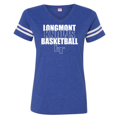 Longmont Knows Basketball White - LAT Ladies' Football Fine Jersey T-Shirt Thumbnail